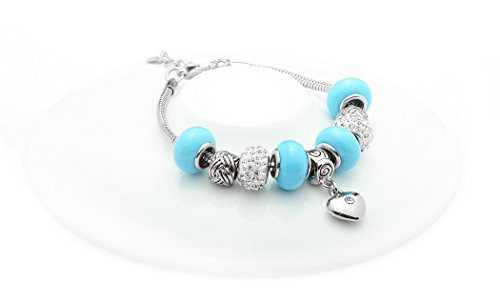 NYC Sterling Charmed Link Murano Heart Charm Bracelet (Light Blue) (Light Link Heart Bracelet)