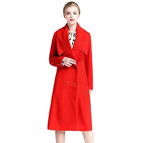 Para Mujeres Cálido red Parka Invierno Las Rojo Gabardina Dama Abrigo Cuello Outwear Lana Largo De Cachemira xl Solapa nwqvaU0XR