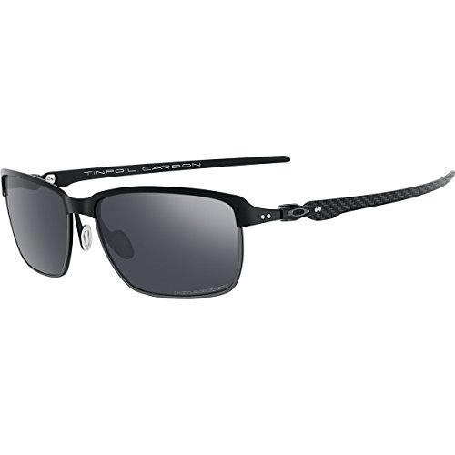 Oakley Men's Tinfoil Carbon Polarized Iridium Rectangular Sunglasses, Satin Black, 58 - Oakley Carbon Sunglasses