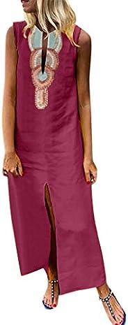 WILLTOO Women's Elegant Dress Vintage Printed V-Neck Sleeveless Silky Split Hem Long Maxi Dress