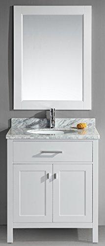 Design Element DEC076E W London 30 Inch Single Sink Vanity Set, White