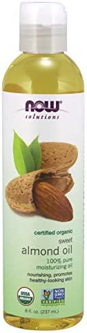 NOW Solutions, Organic Sweet Almond Oil, 100% Pure Moisturizing Oil, Promotes Healthy-Looking Skin, 8-Ounce