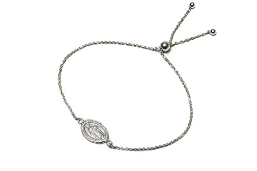 Pori Jewelers Sterling Silver religious Charm Adjustable Bracelet - White - Made In Italy by Pori Jewelers