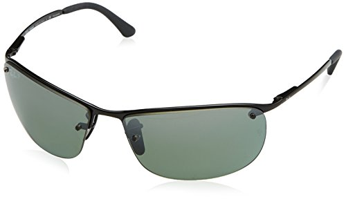 Ray-Ban RB3542 Chromance Lens Wrap Sunglasses, Black Frame/Grey Mirror Lens (002/5L)
