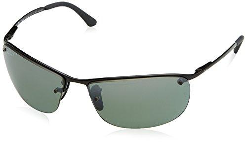 Ray-Ban RB3542 Chromance Lens Wrap Sunglasses, Black Frame/Grey Mirror Lens - Ban Semi Ray Rimless
