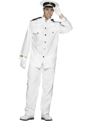Smiffy's Men's Captain Costume with Jacket Trousers Cap and Gloves, White, Large (All White Costume)