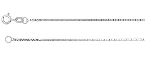 1mm 14k White Gold Solid Box Chain, 20'' by Jewelry Store