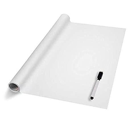 Vinilo Pizarra Adhesivo Reutilizable Lámina de Pizarra Negra/Blanco Pegatinas de Pizarra Impermeable para Escribir y Borrar (Incluye 5 tizas o ...