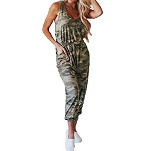 Angashion Women's Jumpsuits-Camouflage Striped Solid Casual Loose Sleeveless Elastic Waist Long Pants Rompers with…