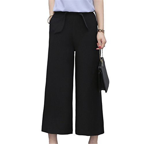 Price comparison product image Huntty Women Pants Wide Arrival Bow Decor Lady Trousers Black / Green