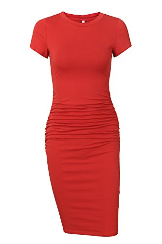 Missufe Women's Ruched Casual Sundress Midi Bodycon Sheath Dress (Rust, Large)