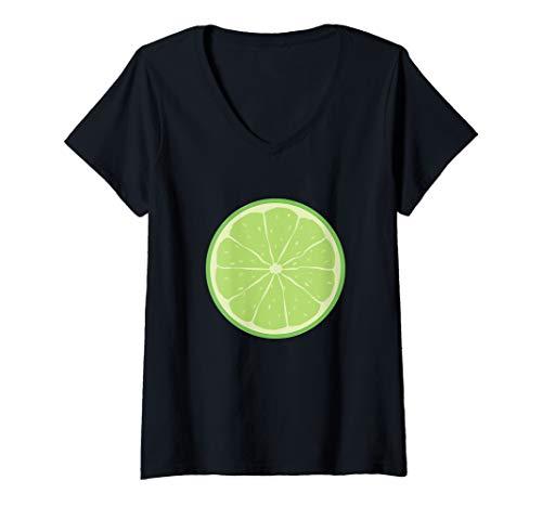 Womens Green Lime Costume Shirt Group Matching Halloween Shirts V-Neck T-Shirt