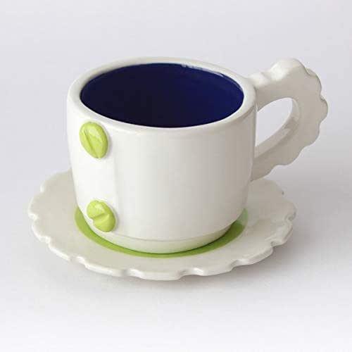 Taza de té con diseño mecánico, Más colores disponibles, Mango de engranaje, Cerámica artesanal, Hecho en Italia – 100ml (Verde, Azul)
