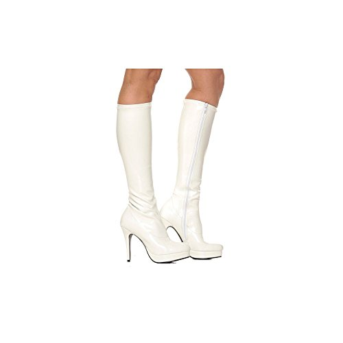 Satin High Heel Adult Boots - Women's Shoes 4 Inch Knee High Boots With Zipper (White;6)
