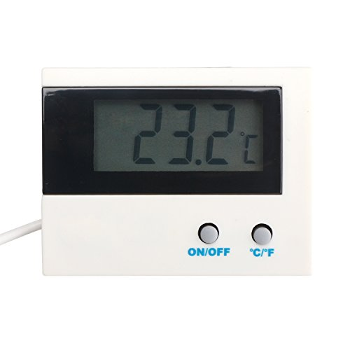 Refrigerator Temperature Monitor Gauge, DROK Digital Electronic Thermometer Celsius Fahrenheit -50°c~+80°c(-58oF~+176oF) Temp Tester Panel Waterproof Sensor for Aquarium Refrigerator Freezer Pantry