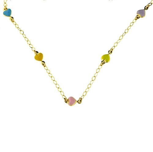 18Kt Yellow Gold Multi Color Heart Necklace by Amalia
