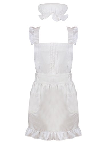 White Frilly Pinafore Apron for Baking, Victorian Waitress Downton Maid Costume with Mop Cap, Attractive Design with Adjustable Sizing & Quality Easy Care