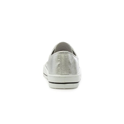 Lilley Womens Silver Lace Up Canvas Shoe Multicolour