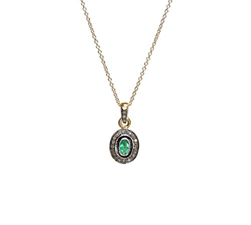 Emerald Solitaire Oval Pendant Necklace Rose Cut Pave Diamond Sterling Silver Gold - 16