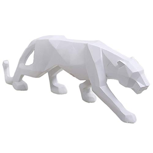 wyhweilong Panther Sculpture/Statue Geometric Modern Resin Leopard Decor for Home Bookcase Shop Window (White Small)