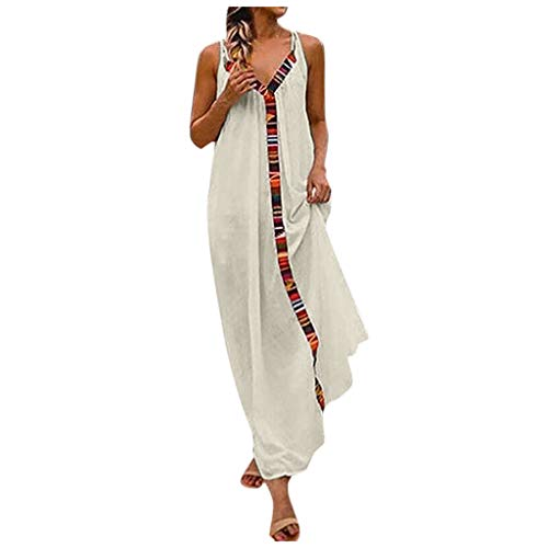 - Casual Boho Maxi Dresses for Women,QueenMM,Comfortble Cotton Sleeveless Summer Casual Dresses Loose V Neck Sundress White