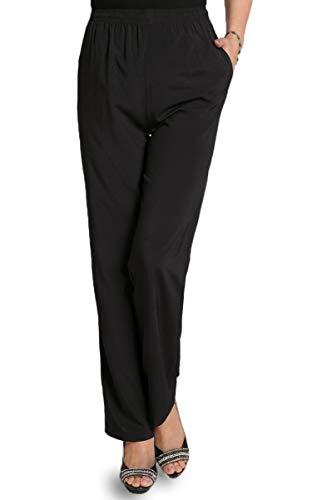 Soojun Women's Seniors Thin Soft Elastic Waist Pull On Pants, Black, 14 Petite