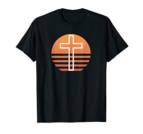 Vintage Christian Faith Distressed Cross in Sunset Gifts T-Shirt