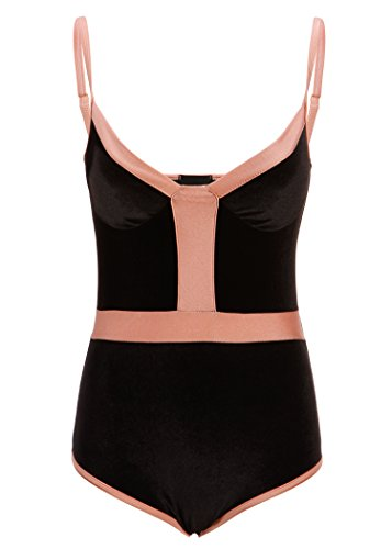 Womens Black Velvet 70s Seventies Retro Bodysuit Bodice Top – Size Medium