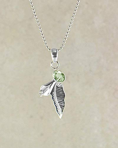 - SIVALYA Pretty Feather Pendant Necklace in 925 Sterling Silver with Green Amethyst - Polished Finish in Solid Silver