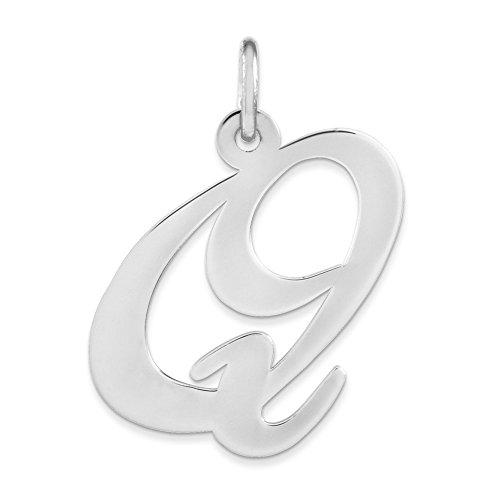 Jewelry Best Seller Sterling Silver Large Fancy Script Initial Q Charm