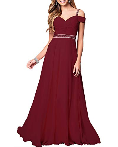Aofur New Lace Long Chiffon Formal Evening Bridesmaid Dresses Maxi Party Ball Prom Gown Dress Plus Size (XX-Large, Burgundy) ()