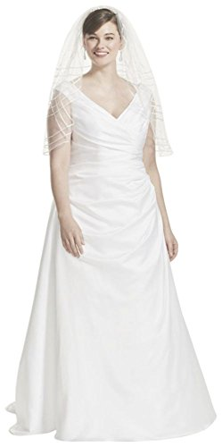Off-the-Shoulder V-Neck Plus Size Wedding Dress Style 9T9861, Ivory, 24W