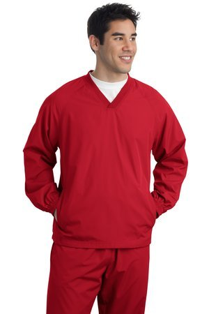 (Sport-Tek Men's Rib Knit V-Neck Collar Soft Raglan Wind Shirt_Black_XXX-Large)
