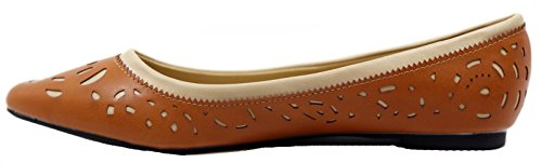 Walstar SOLE CLASSIC FANCY Womens Casual Pointed Toe Ballet Comfort Soft Slip On Flats Shoes Tan IxSLuyhaKO