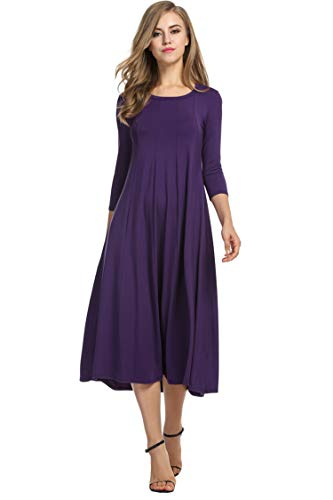 Hotouch Women's Plus Size Quarter Sleeve Loose Fit Maxi Dress Tunic (Purple, XXL) (Purple And White Wedding Dresses Plus Size)