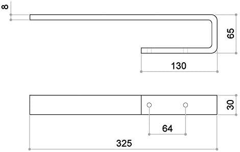 Towel Rail PELI Cabinet Mounting/Aluminium Massiv Chrome Polished/Length: 325 mm/Width: 65 mm/Height: 30 mm /
