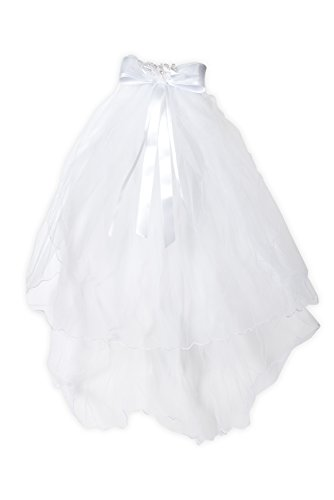 First Holy Communion White Tulle Veil with Satin and Organza Flower Bow