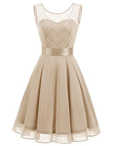 Womens Sizing Chart - BeryLove Women's Short Floral Lace Bridesmaid Dress A-line Swing Party Dress BLP7005LightChampagne2XL