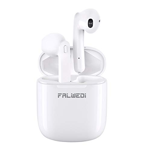 Falwedi Bluetooth 5.0 True Wireless Earbuds with Charging Case for iPhone Android, 30H Cyclic Playtime Waterproof No Master-Slave TWS Stereo Headphones with mic, in-Ear Earphones Headset for Sport