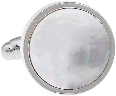[スポンサー プロダクト]カフス専門店 CUFF ラウンド ホワイト シェル カフス カフスボタン n00559