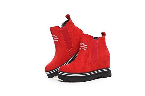 Amoonyfashion Kvinnor Rund Tå Slutna Tå Kick-häl Stövlar Med Förstärkas Inuti Och Ornamente Röd