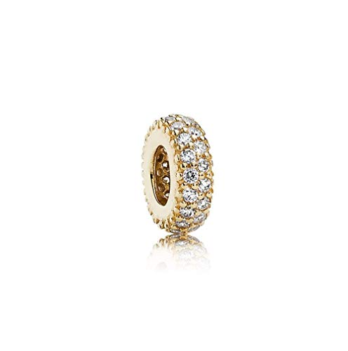 MiniJewelry Inspiration Within Spacer Charm for Bracelets Dazzling Golden Oblate with Crystal