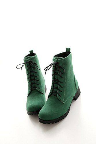 CXQ-Boots qin&X Women's Block Heel Heels Round Head Short Martin Boots Shoes Green DCmcQi