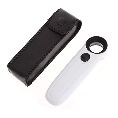 WEI-LUONG Handheld 2 LED Light Magnifier Reading Magnifying Glass Lens Jewelry Loupe 40X مكبرة