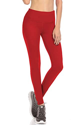 VIV Collection Signature Leggings Yoga Waistband Soft w Hidden Pocket (S, Red)
