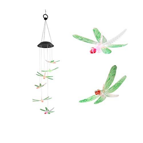 TADAMI Solar Hanging Light, Wind Chime Dragonfly Light String Decorative Lights Outdoor Garden Terrace Wedding Party (Green)