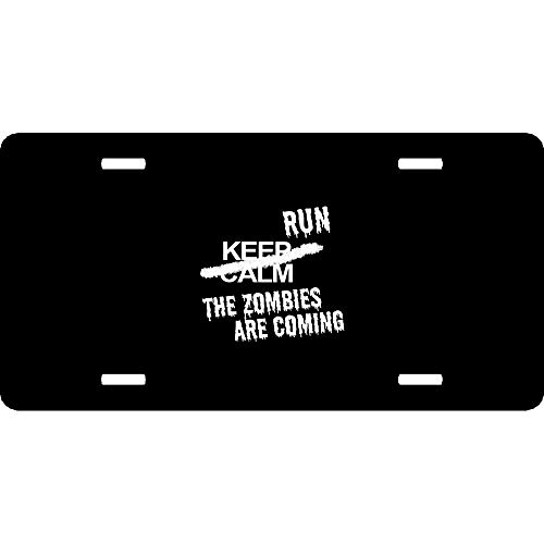 URCustomPro Keep Calm Run The Zombies are Coming Walkers Halloween Personalized Aluminum Metal License Plate Cover for Auto Cars, Novelty Car Tag Sign for Women/Men, 12 x 6 Inch -