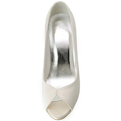 Satin Haut Prom Talon Demoiselle Lhwan Chaussures D'honneur Robe Pompes Beige Court Femmes qWA71