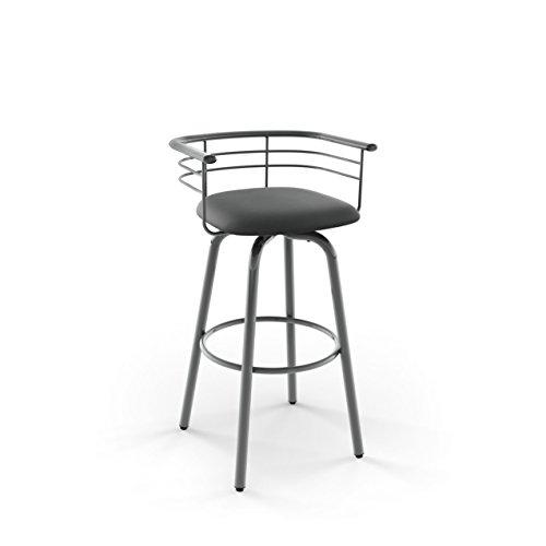 Amisco Turbo Swivel Metal Barstool in Glossy Grey Metal and Mat Charcoal Black Polyurethane - Amisco Swivel Bar Stools