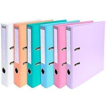 Archivador de palanca, lomo 50 mm, A4 recubierto PVC, surtido (6 colores pastel) - Lote de 10: Amazon.es: Oficina y papelería